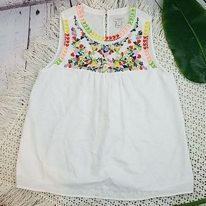J. Crew Embroidered Floral Top size 4